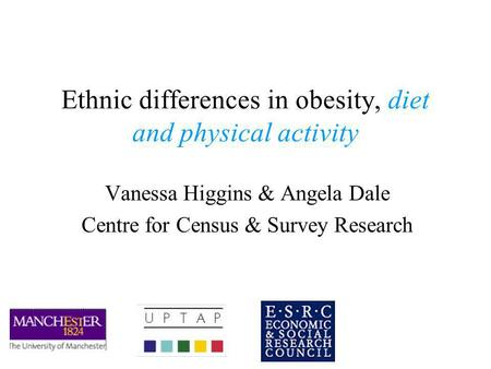Ethnic differences in obesity, diet and physical activity Vanessa Higgins & Angela Dale Centre for Census & Survey Research.
