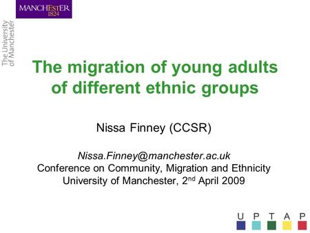 The migration of young adults of different ethnic groups Nissa Finney (CCSR) Conference on Community, Migration and Ethnicity.