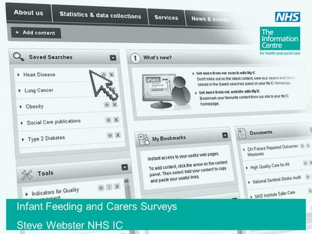 Infant Feeding and Carers Surveys Steve Webster NHS IC.