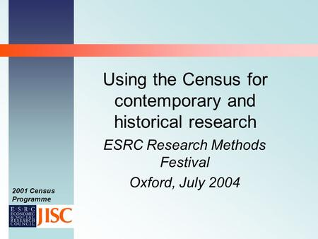 2001 Census Programme Using the Census for contemporary and historical research ESRC Research Methods Festival Oxford, July 2004.