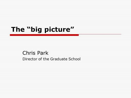 The big picture Chris Park Director of the Graduate School.