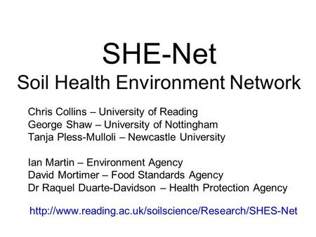 SHE-Net Soil Health Environment Network Chris Collins – University of Reading George Shaw – University of Nottingham Tanja Pless-Mulloli – Newcastle University.