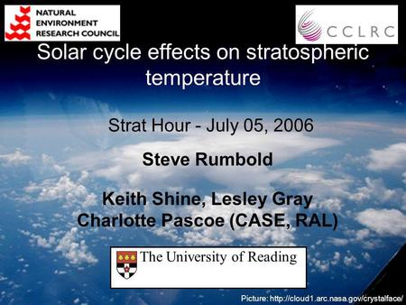 Steve Rumbold Keith Shine, Lesley Gray Charlotte Pascoe (CASE, RAL) Picture:  Strat Hour - July 05, 2006 The University.