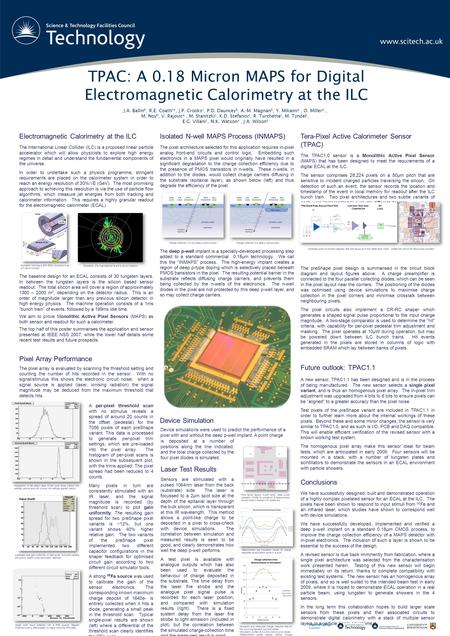 TPAC: A 0.18 Micron MAPS for Digital Electromagnetic Calorimetry at the ILC J.A. Ballin b, R.E. Coath c *, J.P. Crooks c, P.D. Dauncey b, A.-M. Magnan.
