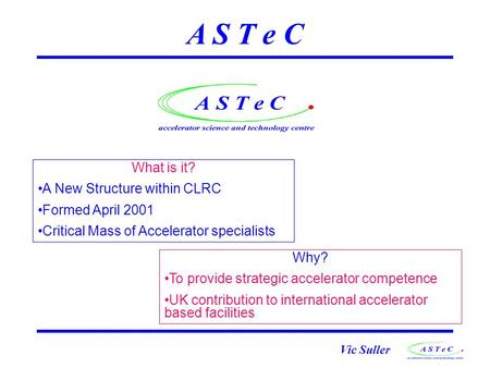 Vic Suller A S T e C What is it? A New Structure within CLRC Formed April 2001 Critical Mass of Accelerator specialists Why? To provide strategic accelerator.