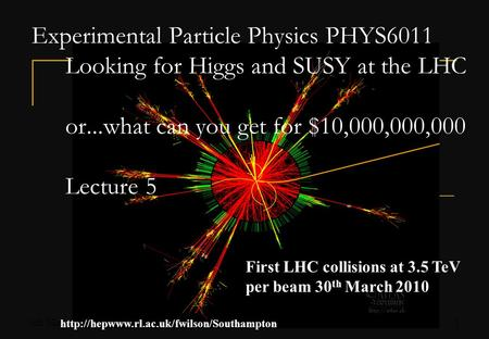 5th May 2010Fergus Wilson, RAL1 Experimental Particle Physics PHYS6011 Looking for Higgs and SUSY at the LHC or...what can you get for $10,000,000,000.