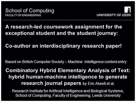 School of something FACULTY OF OTHER School of Computing FACULTY OF ENGINEERING A research-led coursework assignment for the exceptional student and the.
