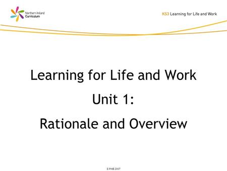 © PMB 2007 Learning for Life and Work Unit 1: Rationale and Overview.