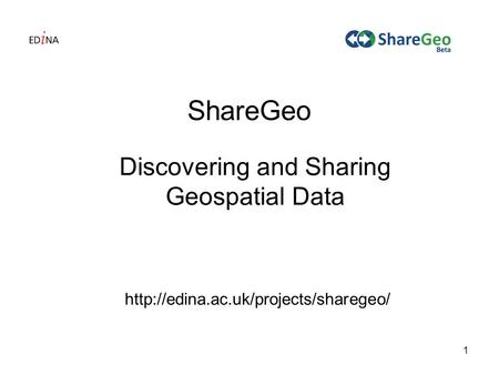1 ShareGeo Discovering and Sharing Geospatial Data