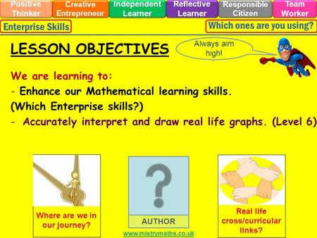 We are learning to: - Enhance our Mathematical learning skills. (Which Enterprise skills?) -Accurately interpret and draw real life graphs. (Level 6)