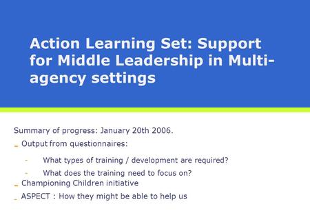 Action Learning Set: Support for Middle Leadership in Multi- agency settings Summary of progress: January 20th 2006. - Output from questionnaires: -What.