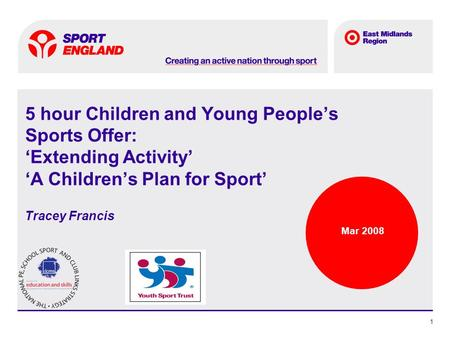 Spotlight text 1 5 hour Children and Young Peoples Sports Offer: Extending Activity A Childrens Plan for Sport Tracey Francis Mar 2008.