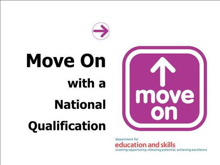Move On with a National Qualification. Move On recruiter training By the end of the session you will be able to: explain the Move On approach describe.
