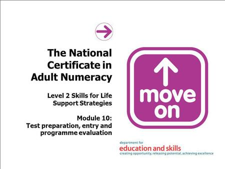 The National Certificate in Adult Numeracy Level 2 Skills for Life Support Strategies Module 10: Test preparation, entry and programme evaluation.