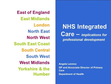 East of England East Midlands London North East North West South East Coast South Central South West West Midlands Yorkshire & the Humber NHS Integrated.