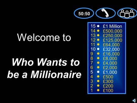 15 14 13 12 11 10 9 8 7 6 5 4 3 2 1 £1 Million £500,000 £250,000 £125,000 £64,000 £32,000 £16,000 £8,000 £4,000 £2,000 £1,000 £500 £300 £200 £100 Welcome.