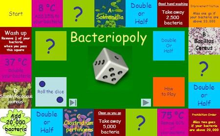 A CD B ABCD Double Or Half How to Play Roll the dice ? Start 8 °C Add 25% to your bacteria ? Good hand washing Take away 2,500 bacteria Improvement Notice.