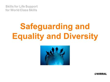 Skills for Life Support for World Class Skills Safeguarding and Equality and Diversity.