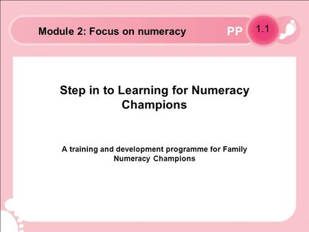 PP Step in to Learning for Numeracy Champions A training and development programme for Family Numeracy Champions 1.1 Module 2: Focus on numeracy.