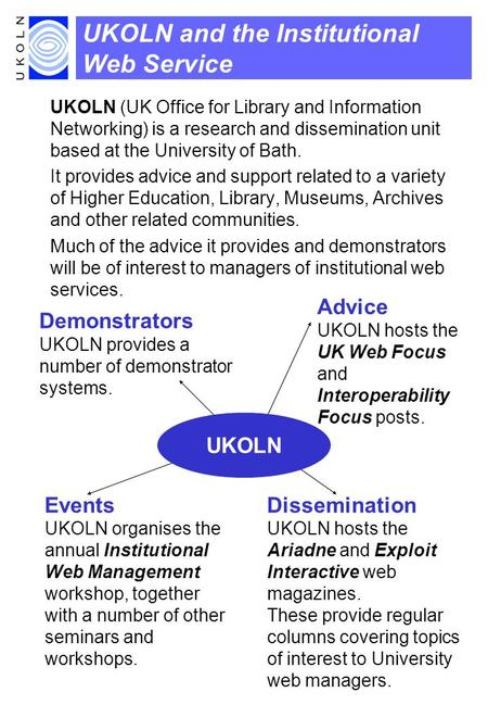 UKOLN and the Institutional Web Service UKOLN (UK Office for Library and Information Networking) is a research and dissemination unit based at the University.