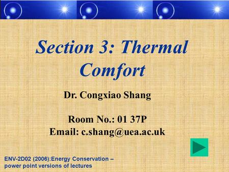 Section 3: Thermal Comfort