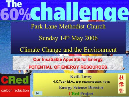 Park Lane Methodist Church Sunday 14 th May 2006 Climate Change and the Environment Keith Tovey Н.К.Тови М.А., д-р технических наук Energy Science Director.