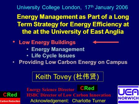 1 Energy Management as Part of a Long Term Strategy for Energy Efficiency at the at the University of East Anglia Low Energy Buildings Energy Management.