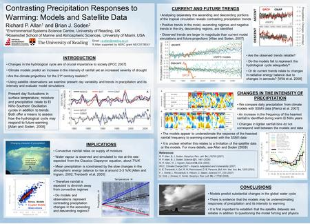 Contrasting Precipitation Responses to Warming: Models and Satellite Data Richard P. Allan 1 and Brian J. Soden 2 1 Environmental Systems Science Centre,