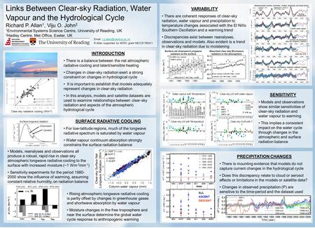 Links Between Clear-sky Radiation, Water Vapour and the Hydrological Cycle Richard P. Allan 1, Viju O. John 2 1 Environmental Systems Science Centre, University.