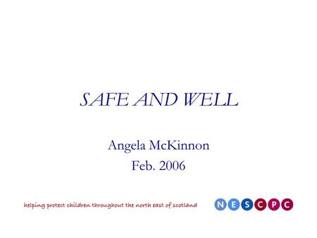 SAFE AND WELL Angela McKinnon Feb. 2006. What is Safe and Well? A document building on previous guidance - part of the SE reform programme Supplement.