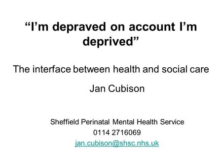 Sheffield Perinatal Mental Health Service
