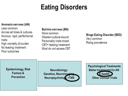 Eating Disorders Anorexia nervosa (AN) Less common Across all times & cultures Anxious, rigid, perfectionist traits High mortality & burden No leading.