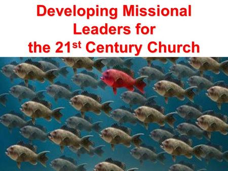 Developing Missional Leaders for the 21 st Century Church.