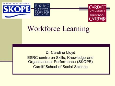 Workforce Learning Dr Caroline Lloyd ESRC centre on Skills, Knowledge and Organisational Performance (SKOPE) Cardiff School of Social Science.