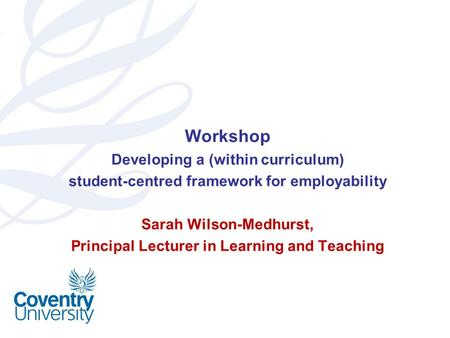 Workshop Developing a (within curriculum)
