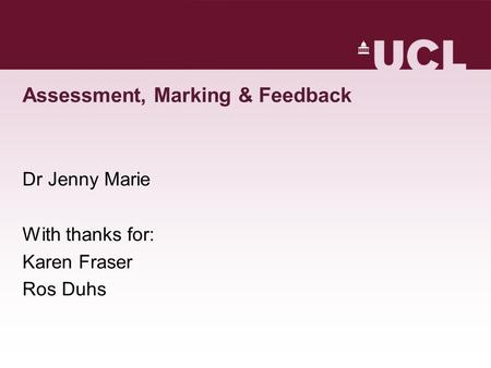 Assessment, Marking & Feedback