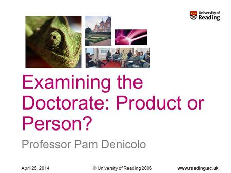© University of Reading 2006www.reading.ac.ukApril 25, 2014 Professor Pam Denicolo Examining the Doctorate: Product or Person?
