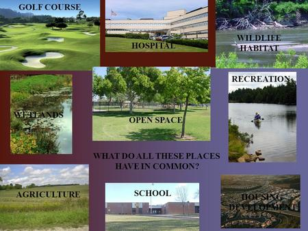 GOLF COURSE HOSPITAL AGRICULTURE WILDLIFE HABITAT WETLANDS OPEN SPACE SCHOOL RECREATION HOUSING DEVELOPMENT WHAT DO ALL THESE PLACES HAVE IN COMMON?