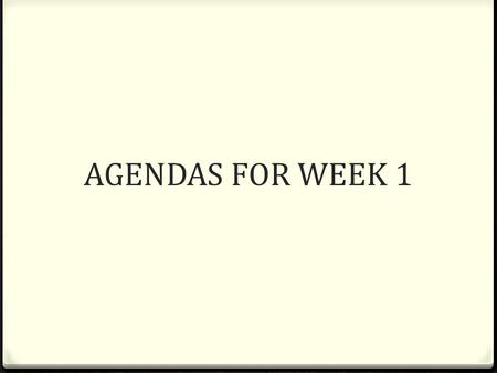 AGENDAS FOR WEEK 1. 4.9.13 FHS 0 Turn in parent signatures 0 Finish questionairre/interview 0 Pick Deutsch Name 0 Alphabet 0 Whats your name? My name.