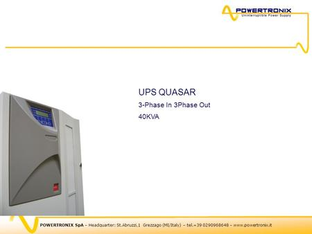 UPS QUASAR 3-Phase In 3Phase Out 40KVA.