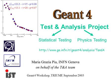 Maria Grazia Pia, INFN Genova Test & Analysis Project Maria Grazia Pia, INFN Genova on behalf of the T&A team
