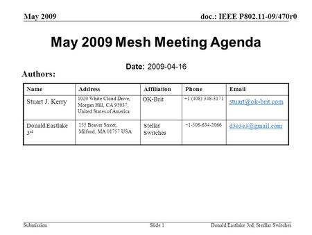 Doc.: IEEE P802.11-09/470r0 Submission May 2009 Donald Eastlake 3rd, Sterllar SwitchesSlide 1 May 2009 Mesh Meeting Agenda Date: 2009-04-16 Authors: NameAddressAffiliationPhoneEmail.