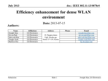 Doc.: IEEE 802.11-13/0878r0 Submission July 2013 Jeongki Kim, LG ElectronicsSlide 1 Efficiency enhancement for dense WLAN environment Date: 2013-07-15.