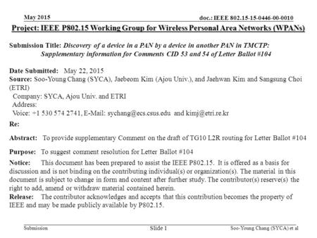 Doc.: IEEE 802.15-15-0446-00-0010 Submission May 2015 Project: IEEE P802.15 Working Group for Wireless Personal Area Networks (WPANs) Submission Title: