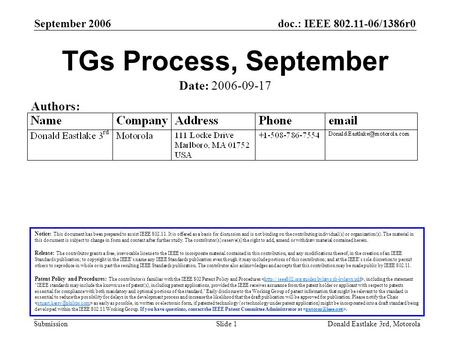 Doc.: IEEE 802.11-06/1386r0 Submission September 2006 Donald Eastlake 3rd, MotorolaSlide 1 TGs Process, September Notice: This document has been prepared.
