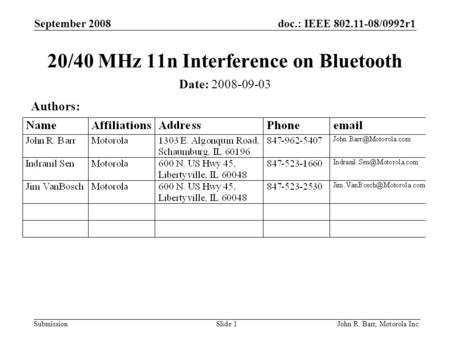 Doc.: IEEE 802.11-08/0992r1 Submission September 2008 John R. Barr, Motorola Inc.Slide 1 20/40 MHz 11n Interference on Bluetooth Date: 2008-09-03 Authors: