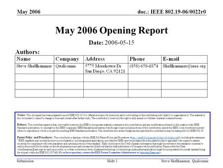 Doc.: IEEE 802.19-06/0022r0 Submission May 2006 Steve Shellhammer, QualcommSlide 1 May 2006 Opening Report Notice: This document has been prepared to assist.