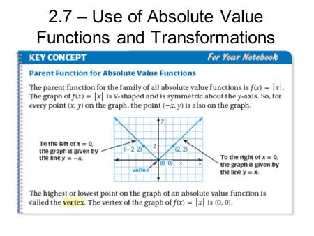 2.7 – Use of Absolute Value Functions and Transformations.