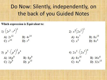 do now silently independently on the back of you guided notes rh slideplayer com Exponents Math Exponents Math