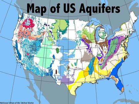 Aquifer A body of rock or sediment that stores groundwater and allows the flow of groundwater.